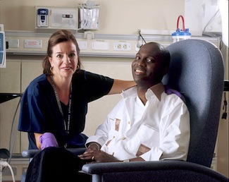 Cancer patient with nurse