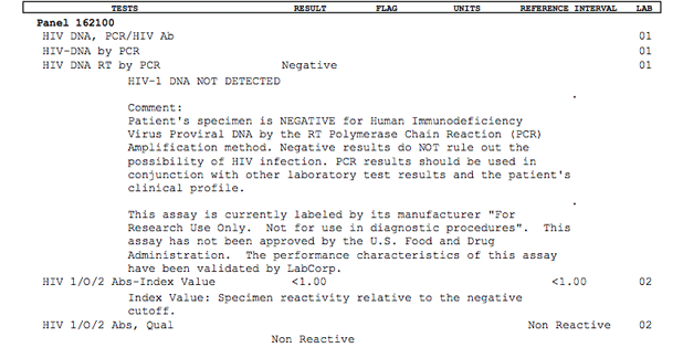 Early HIV Detection (DNA PCR Test) Example Negative Test Results