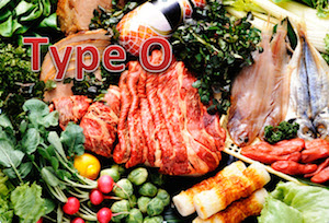 Type O diet foods like fresh vegetables and meats
